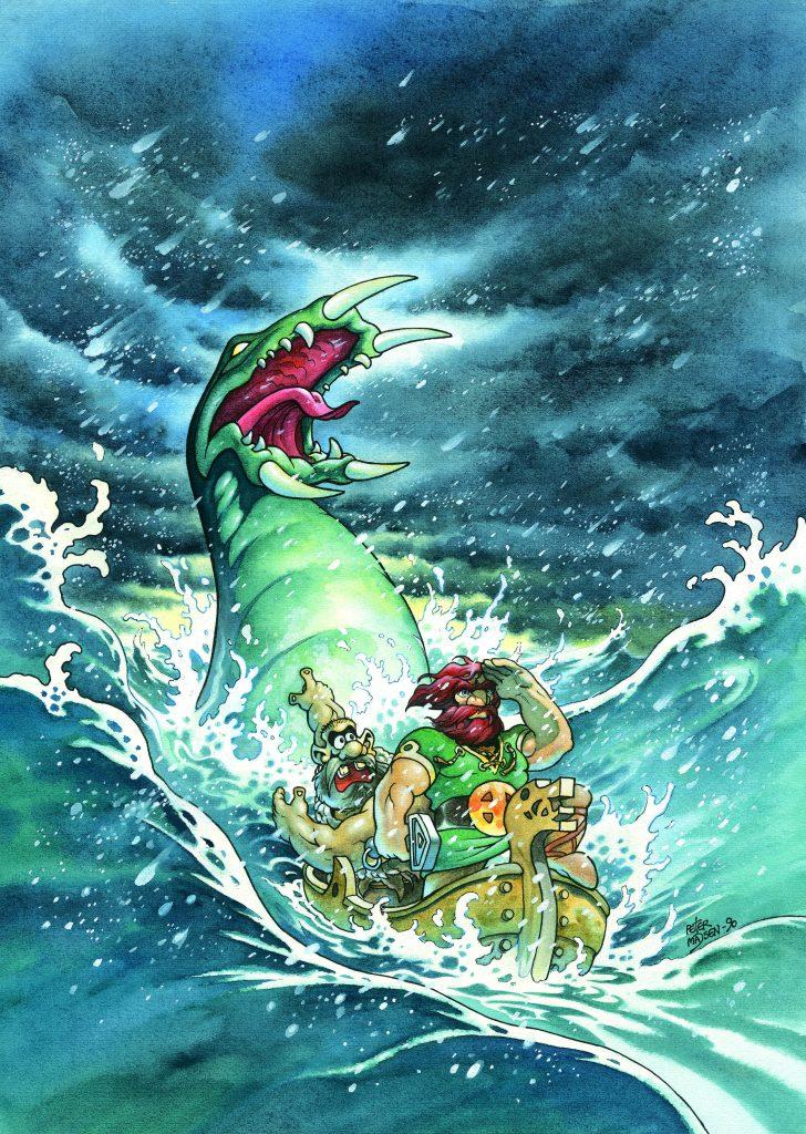 MIDGARDSORMEN: Dette er forsideillustrasjonen til albumet Valhall 7, Ormen i dypet.