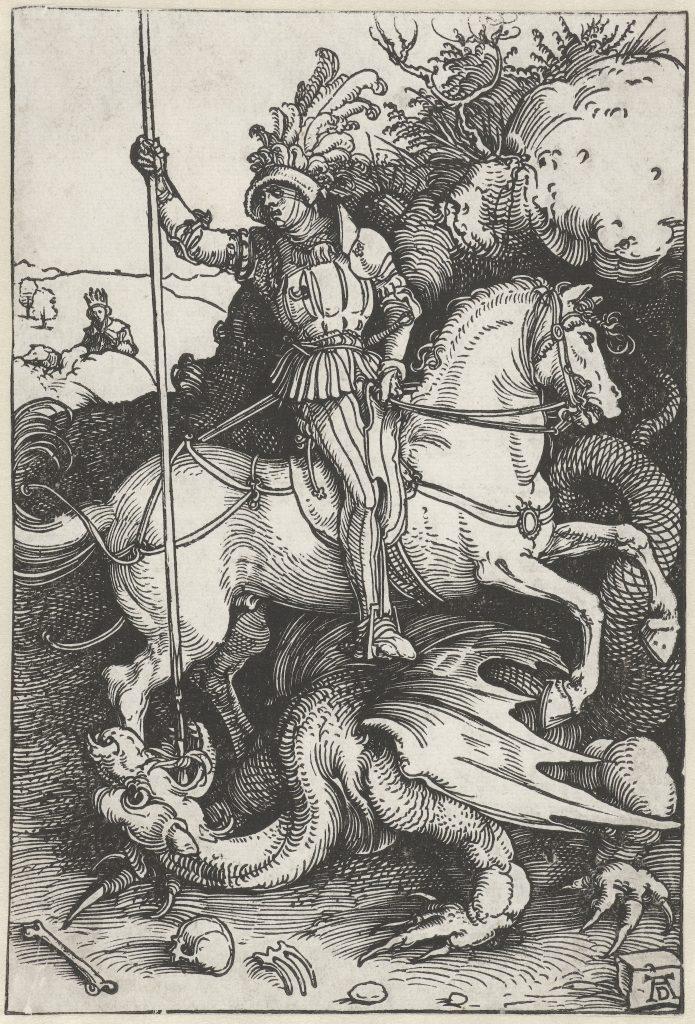 BEKJEMPET DRAGE: Her dreper Sankt Georg dragen. Av Albrecht Dürer/Rijksmuseum. Bilde: Falt i det fri | Public domain