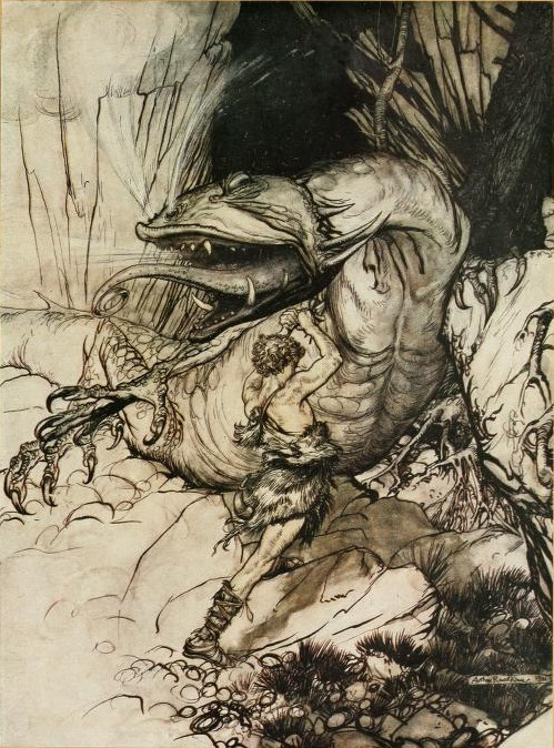 SIGURD DRAKEDREPER: Sigurd dreper dragen Fåvne. I hendene holder han sverdet Gram. Illustrasjon av Arthur Rackham til boka «Siegfried and the Twilight of the Gods», 1911. Bilde: Falt i det fri | Public domain