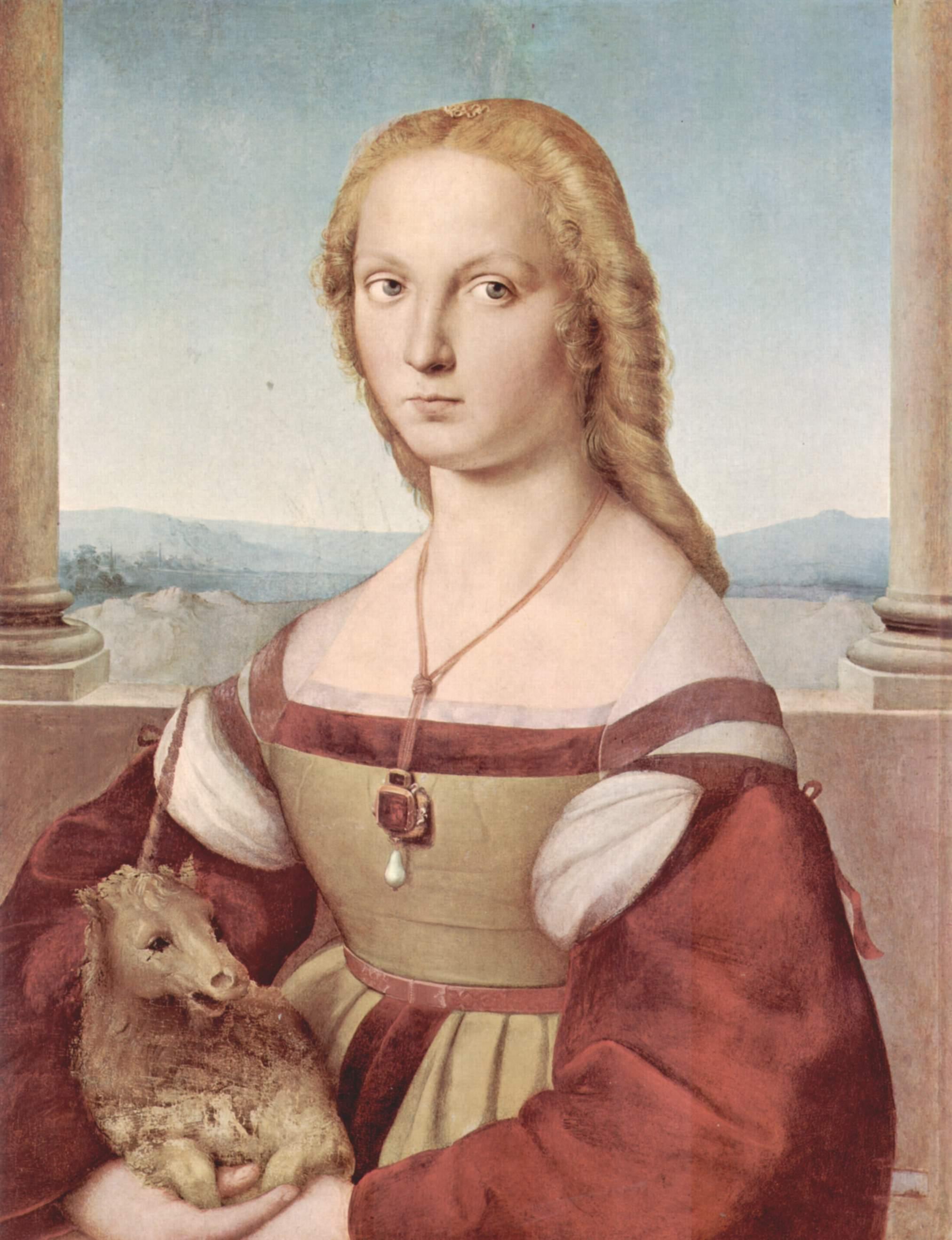 «Ung pike med enhjørning» av renessansekunstneren Raphael fra 1506 portretterer trolig St. Katarina av Alexandria. Enhjørningen symboliserte kyskhet og en lykkeønskning om et godt ekteskap. Bildet kan oppleves i Galleria Borghese i Roma. | Foto: Wikimedia Commons