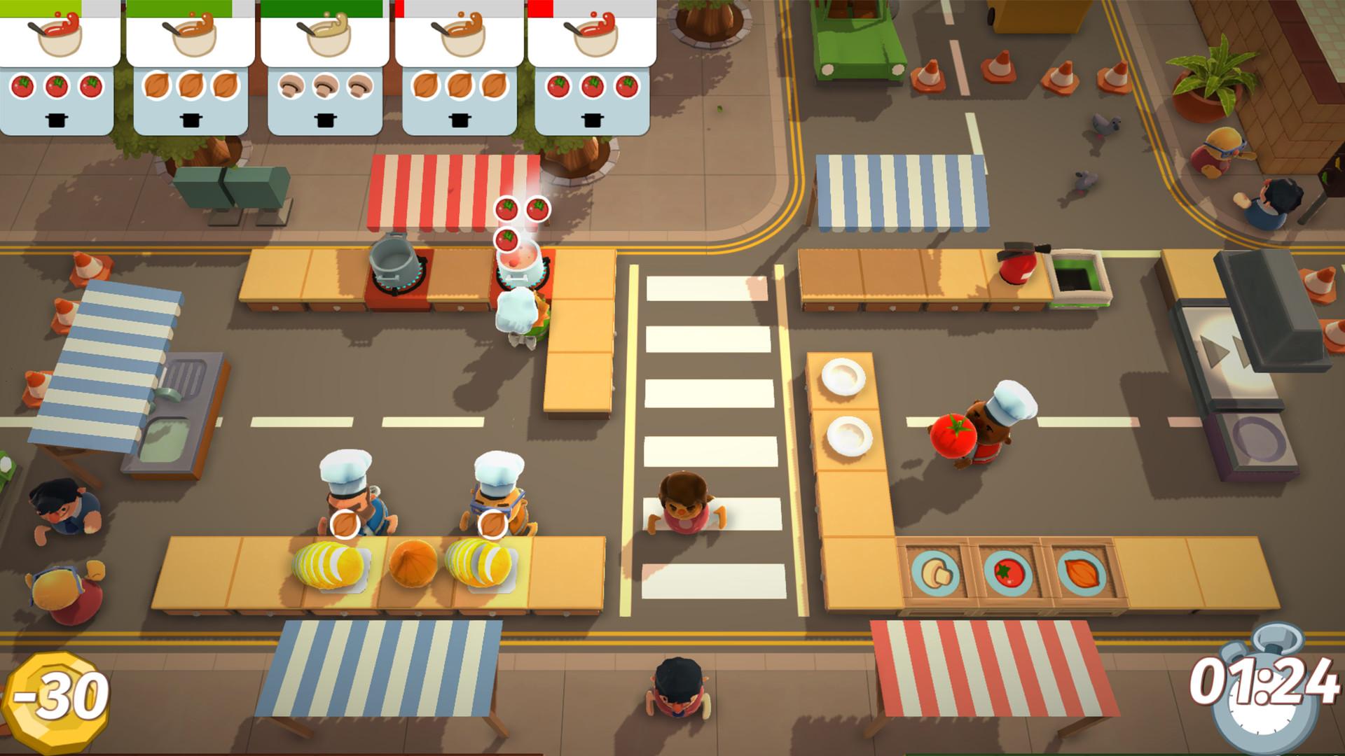 Jo flere kokker, desto mer søl. Overcooked er et kaotisk multiplayerspill som kan få blodet til å koke. Foto: Ghost Town Games, Team17